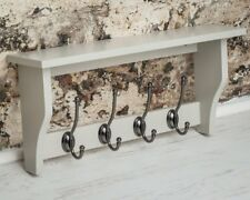 Pale Grey Wooden Display Shelf Hall Storage Coat Hat Rack Metal 4 Double Hooks