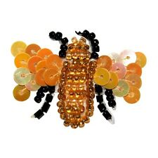 ID 8865 Bumblebee Honey Bee Insect Flower Bug Beaded Iron On Applique Patch