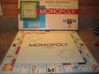 VINTAGE 1961 MONOPOLY REPLACEMENT GAME BOARD PARKER BROTHERS w/ original box