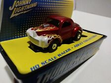 JOHNNY LIGHTNING TJET 500 SLOT CAR WILLYS GASSER COUPE CANDY APPLE RED W/ FLAMES