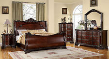 Bellefonte traditional sleigh bedroom set brown cherry finish