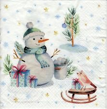 4x Designer PAPER NAPKINS for Decoupage CHRISTMAS LOVELY SNOWMAN