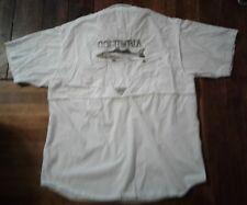 Columbia Sportswear PFG Men's White Vented Fishing Shirt Size L Fish on Back