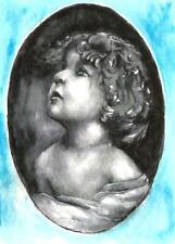 ACEO baby girl portrait black white vintage original painting watercolor art