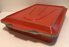 "VINTAGE 11"" X 15"" CLUB ALUMINUM COOKWARE BURGUNDY ROASTING/BAKING PAN W/LID RARE"