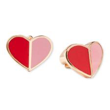 KATE SPADE Heritage Spade Heart Stud Earrings Pink Red