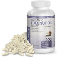 Organic Coconut Oil 1000mg Extra Virgin MCT Non-GMO Gluten Free, 200 Softgels