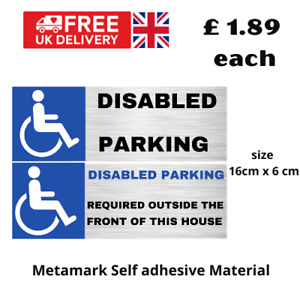 Disabled parking stickers for doors gates self adhesive free UK postage