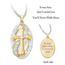 Elegant Footprint & Jesus Cross Pendant 18K Gold Two Tone Necklace Jewelry Gifts