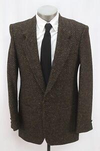 vintage mens black YVES SAINT LAURENT YSL tweed blazer jacket sport coat 38 40 L