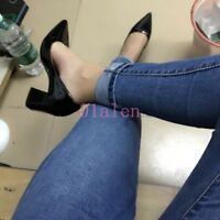 Women Shiny Leather Pumps Pointy Toe Chunky Heel Wedding Casual Dress Shoes Club