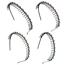 4 PCS Assorted Color Hairband Comb Headband Metal Wire Teeth with Pearl Beads