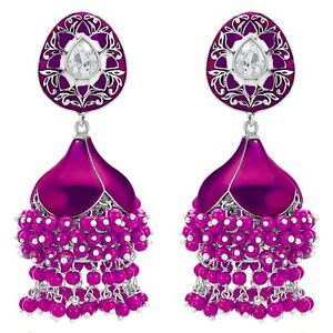 Silver Plated Brass Pearl Earrings For Women Rani pink a899