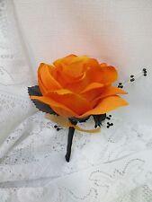 Boutonniere Corsage Black Orange Rose Gothic silk flowers Bridal Prom Wedding