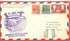 USA Prexie Prexy 22c + 24c used on FLIGHT Cover to Calcutta India 1947