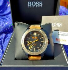 Hugo Boss Mens Watch Heavy/Thick NewTags Save $100 Leather Depth 180ft Nice Box