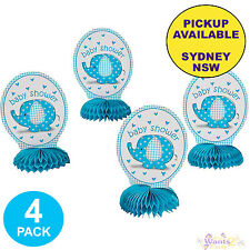 BLUE ELEPHANT UMBRELLA BOY BABY SHOWER PARTY SUPPLIES 4 HONEYCOMB CENTREPIECES