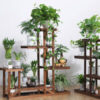 Updated V. Wooden Flower Pot Plant Stand Outdoor Indoor 5Tier Rack &Strength Bar