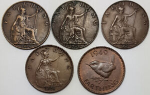 5 x Great Britain Farthings King George V 1914 1924 1925 1928 1949
