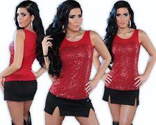 Koucla Bluse Pailletten Spitze Top Partytop Shirt Tanktop Transparent Gala Rot