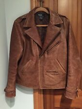 Polo by Ralph Lauren Brown Distressed Leather Moto Jacket size M