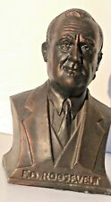 New ListingCast Metal Franklin D. Roosevelt Bust Coin Bank - 1930'S Great Condition