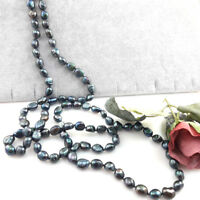 120 cm Natural Black Baroque Freshwater Pearl Great Gatsby Long Pearl Necklace