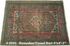 An Antique Decorative Rare 3' x 4' Camel  Hair Sarab Area Rug