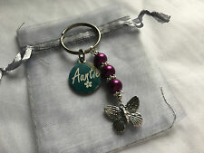 PERSONALISED HANDMADE BUTTERFLY KEYRING - BAG CHARM- AUNTIE GIFT