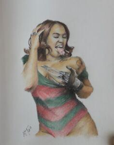 Original 8.5x11 color pencil drawing of exotic woman/Freddy Krueger cosplay