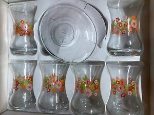 Tea glasses set, 6 Glass 6 Saucer, Turkish Tea Glasses With Flower Design On