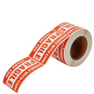 """1 Roll 2"""" x 3"""" Fragile Handle With Care Stickers Labels, 500 Per Roll"""
