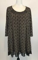 Catherines  Size 1X 18/20 Brown Knit Tunic Top Sheer Trim 3/4 Sleeve