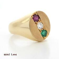 Unisex Chunky 18K Gold Ruby, Diamond & Emerald Gemstone Signet Ring, Size T
