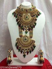 Bollywood Designer Full Wedding Indian Bridal Gold Plated Jewelry Set