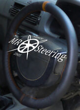 FITS PEUGEOT 206 HDi HATCHBACK BLACK LEATHER STEERING WHEEL COVER + BROWN STRAP