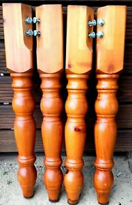 Set of 4 Solid Pine Farmhouse Table Legs 90mm x 90mm x 737mm. FREE POSTAGE.