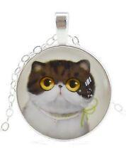 Collier, pendentif cabochon mignon chaton, chat + chaine. B2.