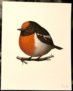 RED-CAPPED ROBIN FAT BIRD GICLEE PRINT BY MIKE MITCHELL SIGNED #299/400
