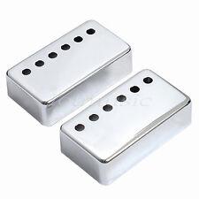 Set of 2 Humbucker Neck and Bridge Guitar Pickup Covers Chrome Metal