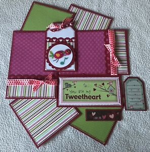 """YOU ARE MY TWEETHEART """"Love/Valentine"""" Premade Scrapbook Page Mat Set SEWN"""