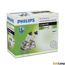 PHILIPS H4 LongerLife Car Headlamp High Low beam 12342ELC2 Twin Pack