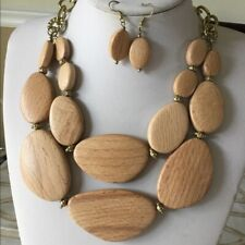 Two layers natural wood bead necklace earring set