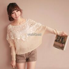 Women Hollow Lace Crochet Floral Knit Cape Tank Crop Tops Vest Pullover Shawl WS