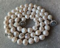 Süßwasser-perle Halskette, 10-11 mm weiß Barock Perle Halskette 16-25 inches