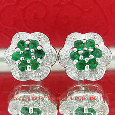 Real Genuine Diamond Emerald Silver Flower Halo Stud Earrings White Gold Finish