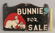 Vintage Mid-20thC Hand-Painted Bunnies For Sale Rabbit Bunny Advertising Sign