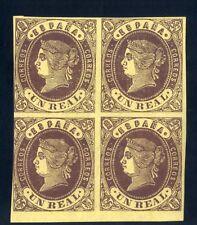 Sellos de España 1862 nº 61 castaño.amarillo 1 real Bloque de Cuatro Isabel II