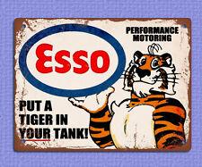 Cartello in Metallo Placca Retrò Vintage Stile esso mettere una tigre nel motore 20 x 15cm