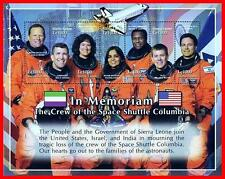 """SPACE SHUTTLE """"COLUMBIA"""" TRAGEDY M/S  MNH  FLAGS, JUDAICA"""